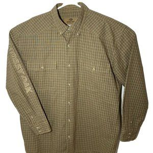 Mossy Oak Mens Plaid Spellout Western Embroidered